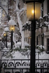 city lamps snow