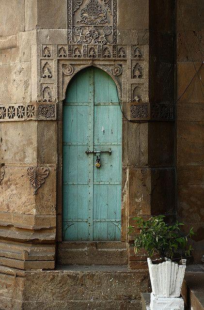 narrow blue door