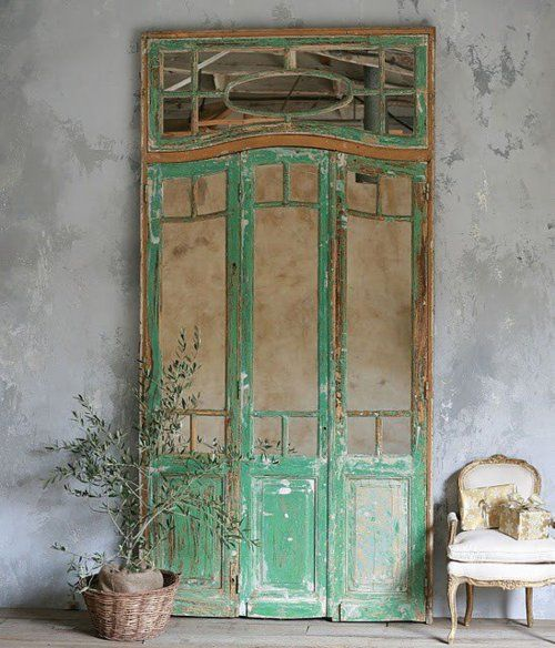 rustic green door
