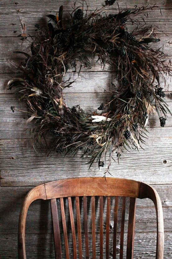 wreath and chair