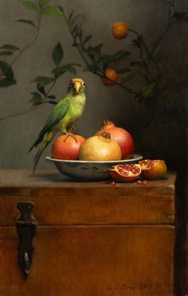 Still life with Parrot and Pomegranates_louise camille fenne