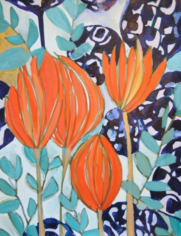 blue and orange floral