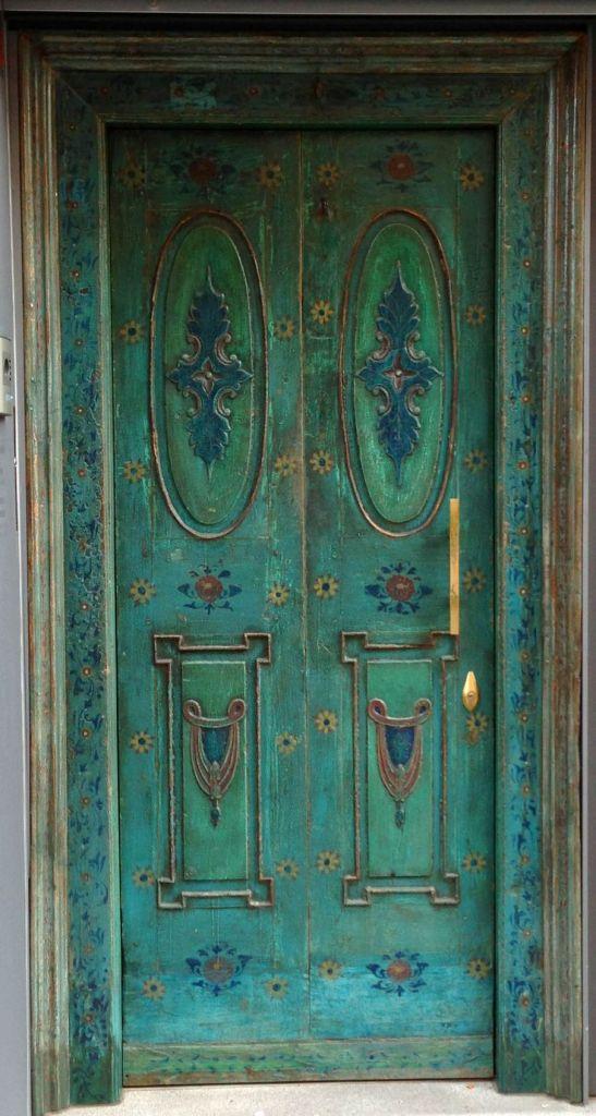 blue green ornate door