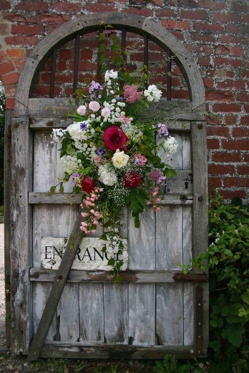flowers on gate
