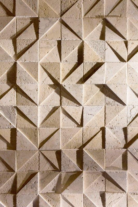 geometric stone wall