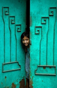girl in door