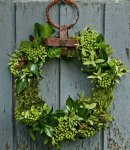 green mossy wreath