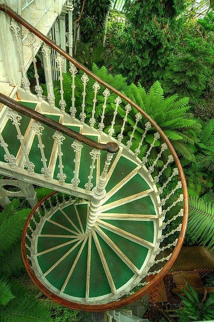 green spiral staircase