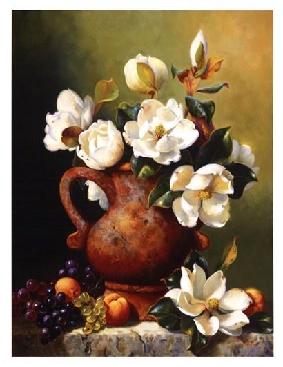 Magnolias In Terra Cotta by Fran Di Giacomo