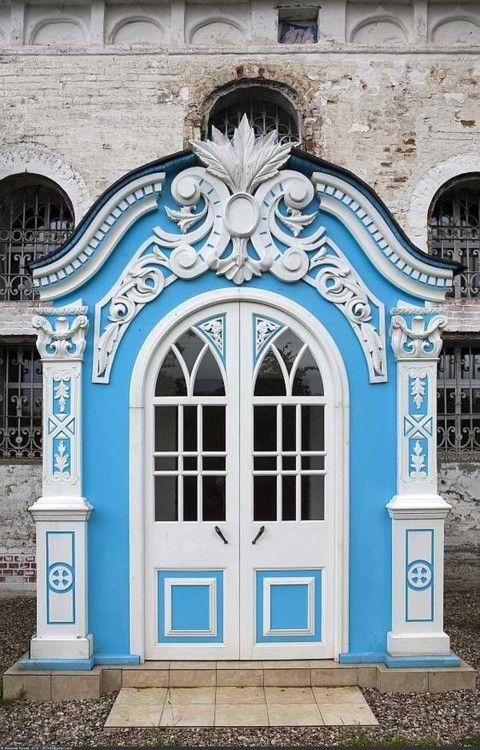 ornate blue and white door