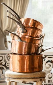 Rare 19th C. Waldorf Astoria Copper Pans
