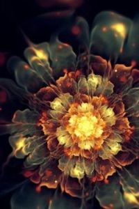 rust and olive green flower