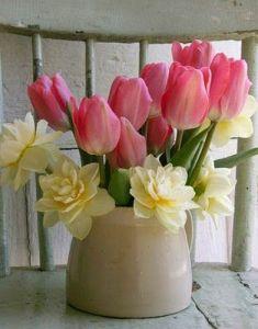 spring flowers in crock