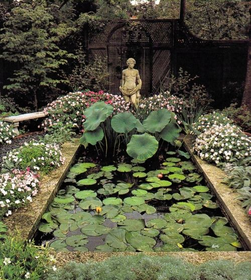 statue and pond