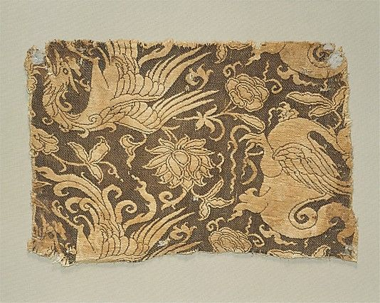 Textile with Phoenix, Winged Animal and Flowers - Mongol 13th - Early 14th Century