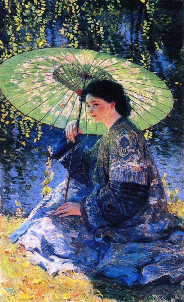 The Green Parasol by Renoir