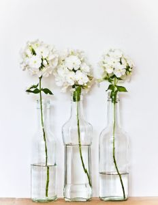 three bottles_white flowers