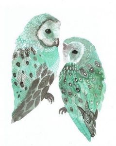 watercolor owls