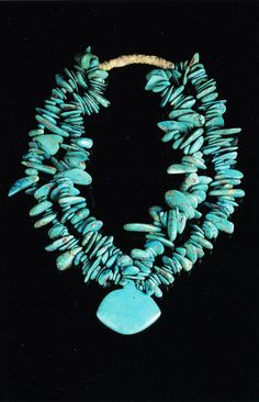 Antique Taos Pueblo indian cut and perforated turquoise beads. Millicent Rogers Museum