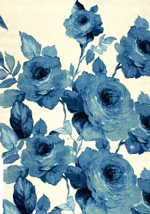 blue rose fabric print