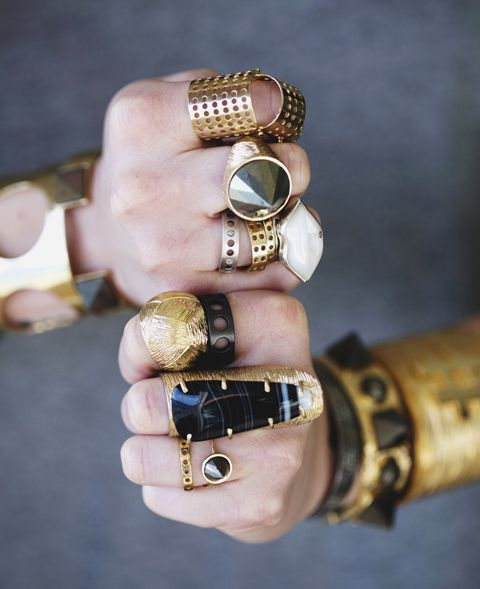 bold gold and black rings