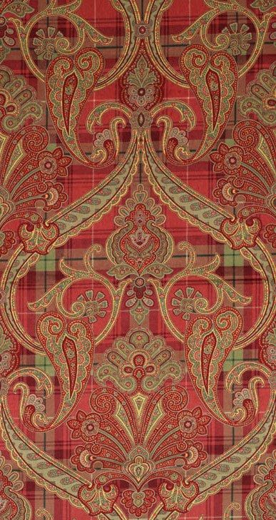 Scalamandre Highland Fling printed paisley-plaid velvet