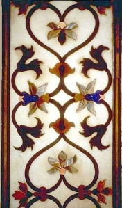 Taj Mahal interior detail, marble inlay