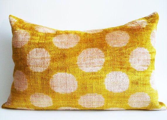 Yellow Silk Velvet Ikat Pillow by Sukan