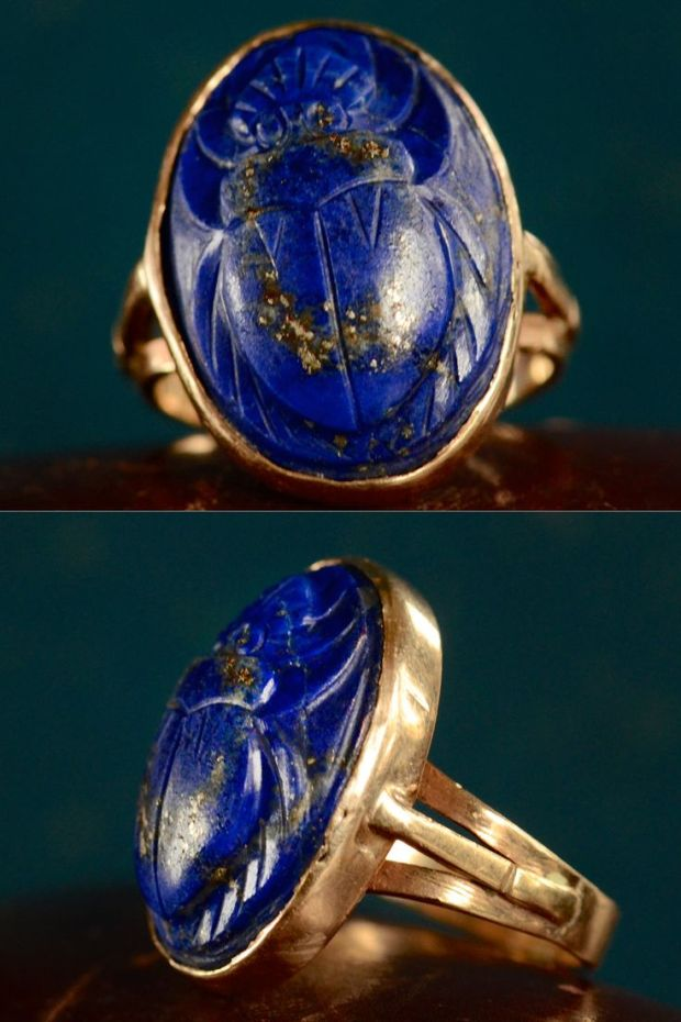 1920s Lapis Lazuli Scarab Ring