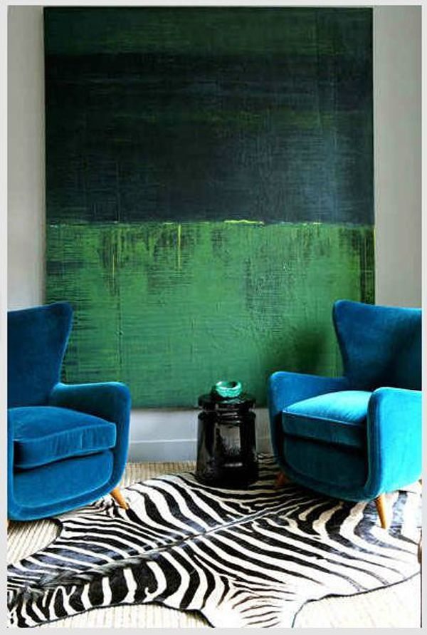 blue and green interior