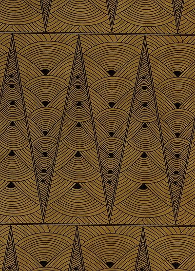 Contemporary Art Deco paperpointed LamaLi paper black on tan
