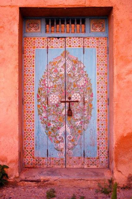 coral peach pink door