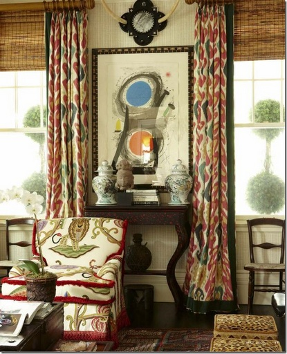 red and natural decor