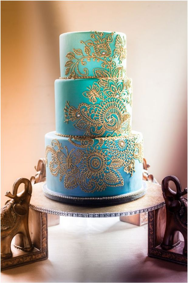 Turquoise Ombre Indian Inspired Wedding Cake_Artisan Cake Company_photo by hazelwoodphoto