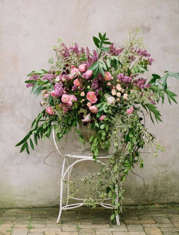 beautifully messy urn arrangement