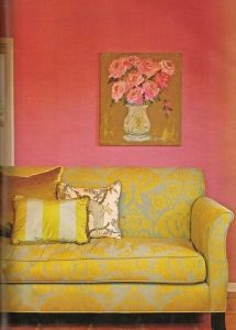 pink art yellow couch