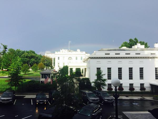 Rainbow over White House by Sam Stein