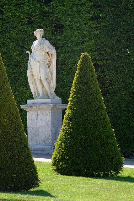 statue and topiary