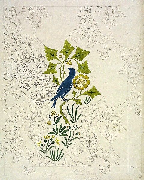 Textile, wallpaper design, Charles Voysey 1891