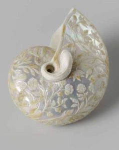 white carved shell