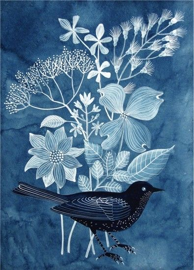 indigo bird and flowers by Geninne