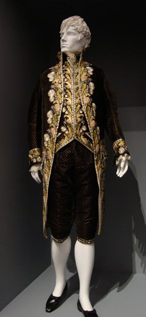 Silk velvet suit with silk embroidery, Europe, c.1800