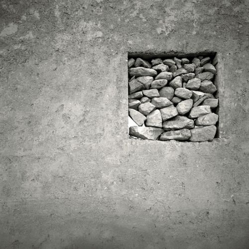 square stones in wall