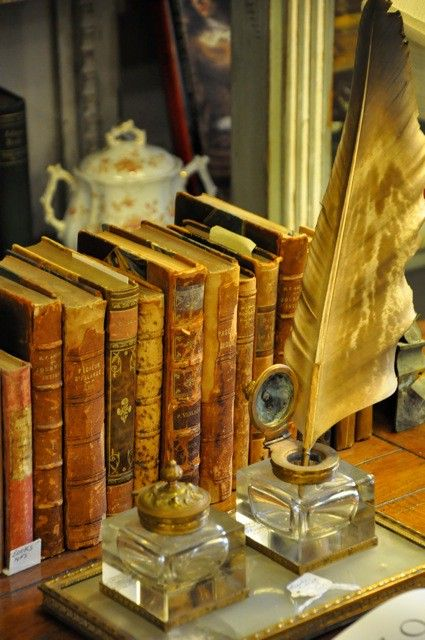 vintage book and inkwells