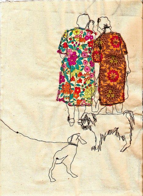 fabric and stitchery art via foxontherun