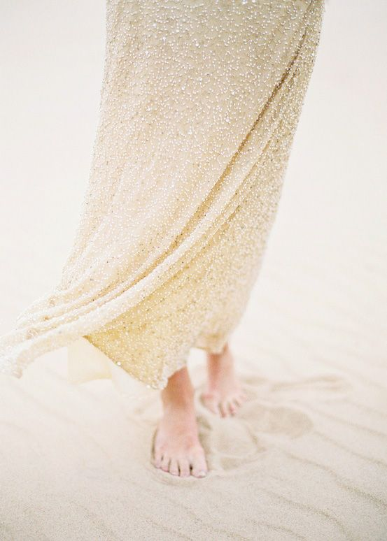 gown and barefeet