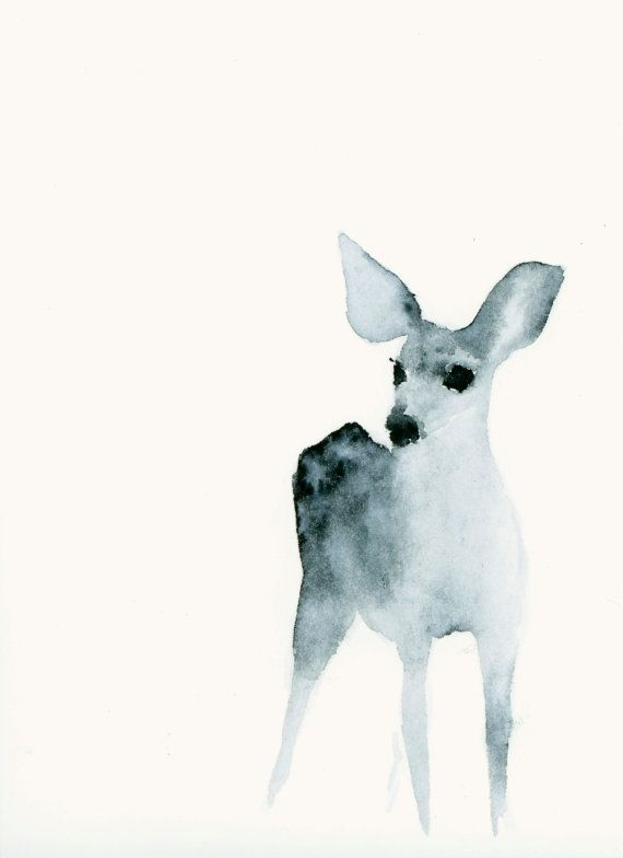 Watercolor fawn by dearcatherina