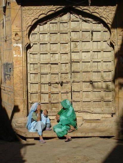 women and door