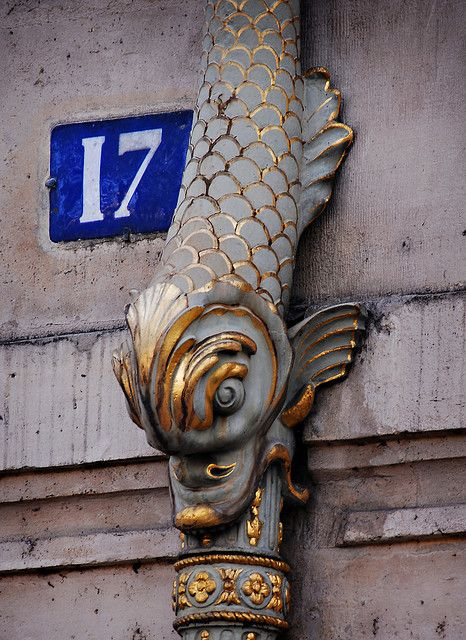 Exterior drain pipe outside the Hotel de Lauzun, Paris by markcoggins on Flickr