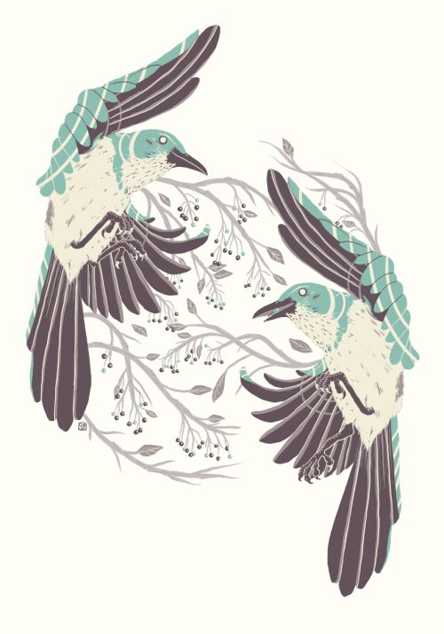 Birds of Summer.Inspired by some neighbourhood Western Scrub Jays.Available on my Society6